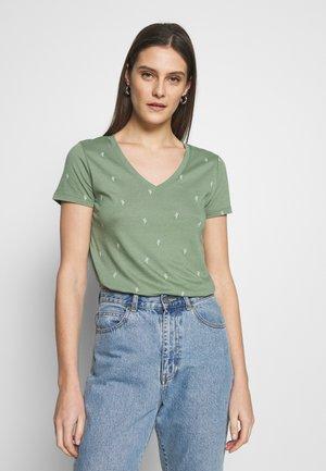 Print T-shirt - olive cactus