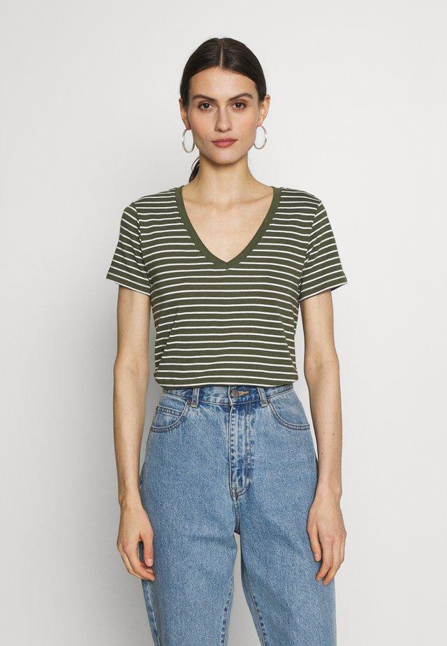 Print T-shirt - olive/white