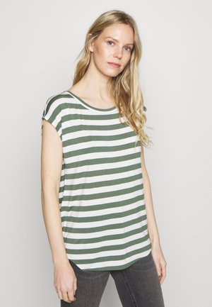LUXE  - T-shirts med print - olive white str