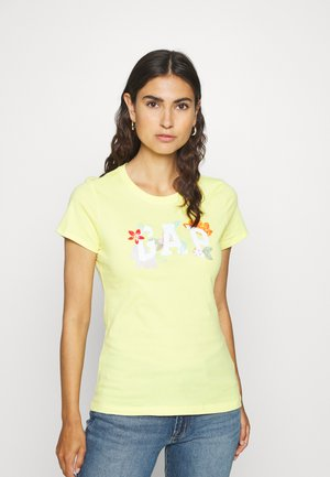FRANCHISE FLORAL TEE - Print T-shirt - clear yellow