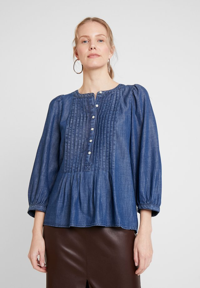3/4 SLEEVE PLEAT POPOVER BLOUSE - Camicetta - dark indigo