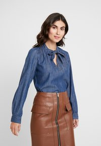 GAP - FRAMED BOW NECK - Blusa - dark indigo - 0