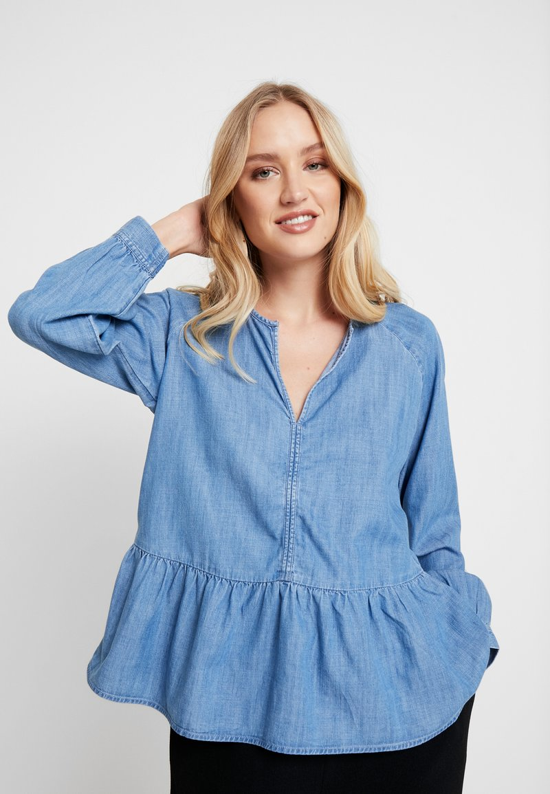 GAP - PEPLUM - Blouse - medium indigo