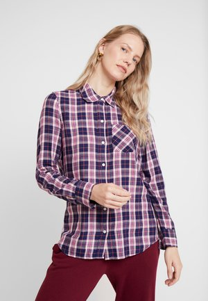 DRAPEY PLAID - Button-down blouse - navy/pink