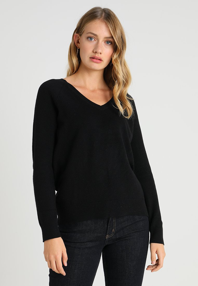 GAP - BROOKLYN V NECK - Jumper - true black
