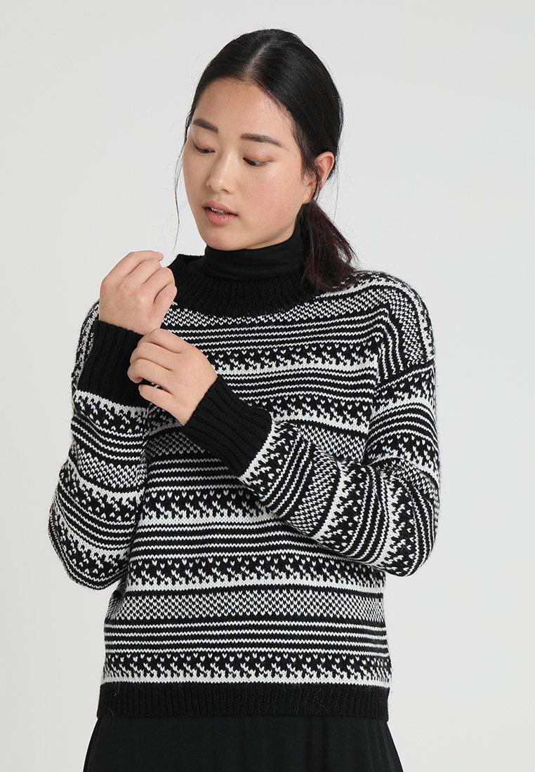 GAP - TEXTURED MOCK PATTERENED - Strickpullover - black/white