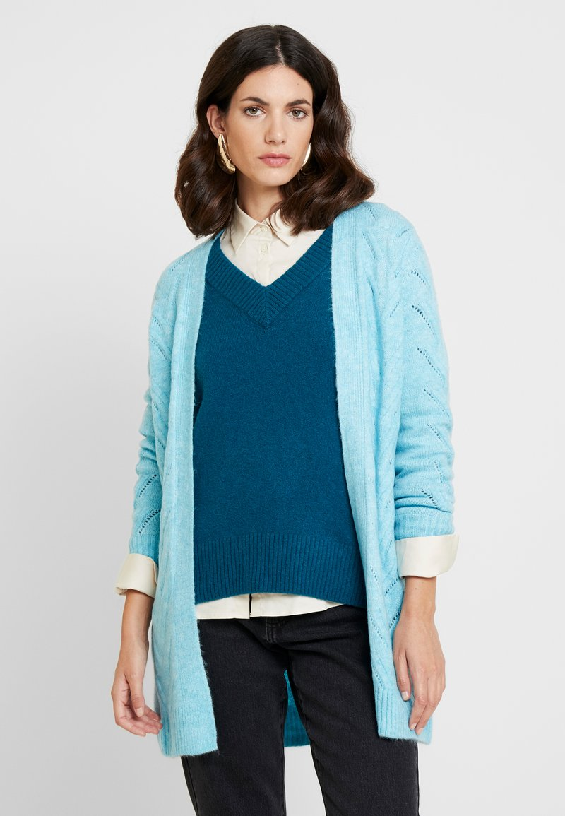 GAP - POINTELLE - Cardigan - light blue heather