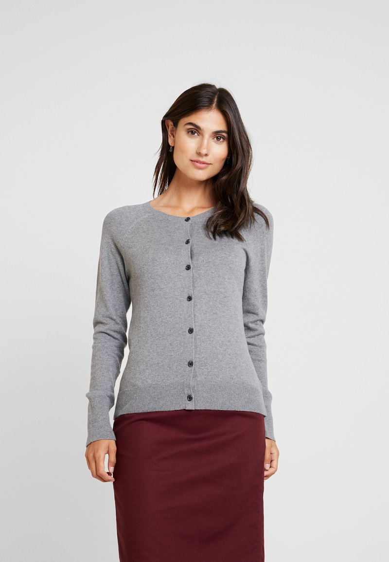 GAP - SLIM CREW CARDI - Cardigan - medium heather grey