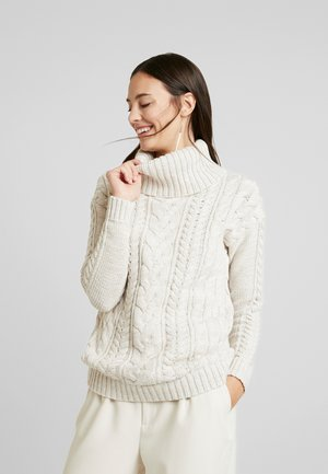 CABLE NECK - Svetr - oatmeal heather