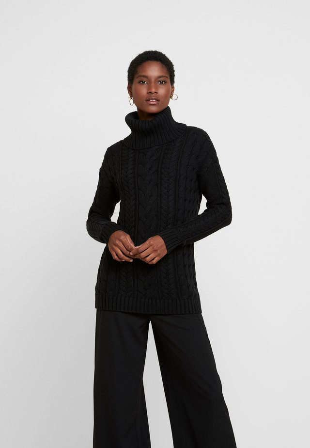 CABLE NECK - Sweter - true black