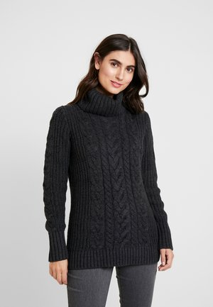 CABLE NECK  - Maglione - charcoal heather