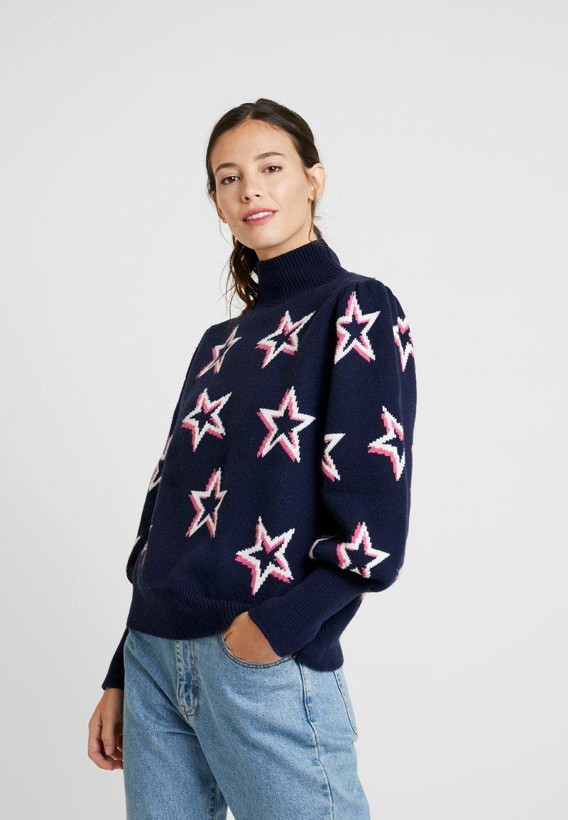 GAP - PUFF STAR NECK - Sweter - navy/multi
