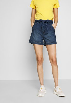 IN TIE WAIST - Denim shorts - dark wash