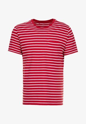 STRIPE - Print T-shirt - easy red