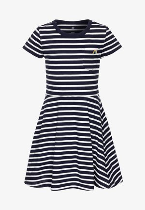 GIRL - Robe en jersey - navy stripe