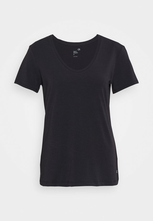 BREATHE NECK TEE - Basic T-shirt - true black