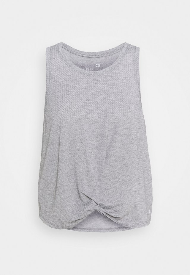 SLEEVELESS TWIST FRONT  - Sports shirt - medium grey
