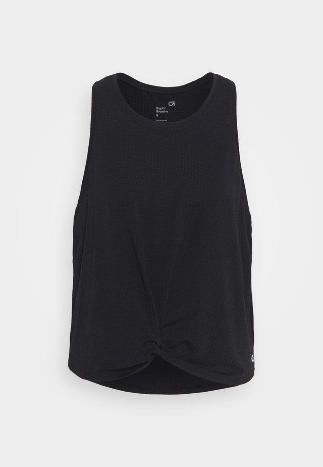 SLEEVELESS TWIST FRONT  - Sportshirt - true black
