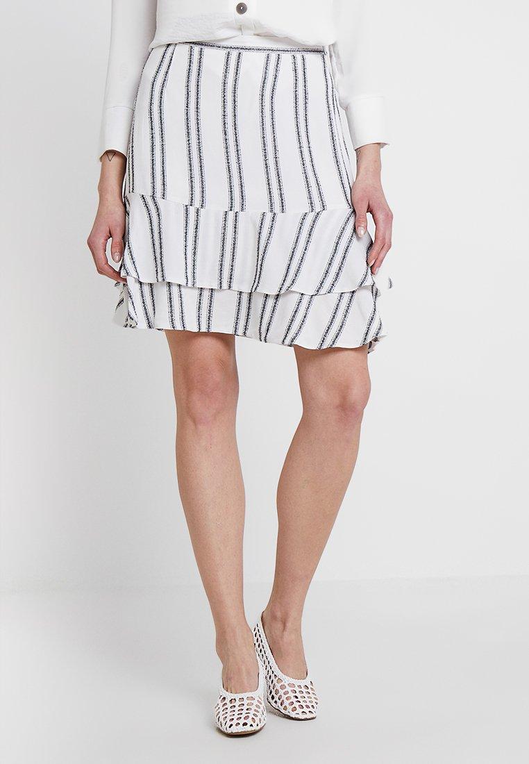 Great Plains London - SAHARA STRIPE MIDI SKIRT - Mini skirts  - milk/ dark navy