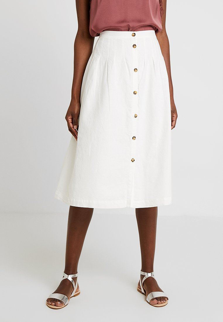 Great Plains London - SAFI BUTTON MIDI SKIRT - A-snit nederdel/ A-formede nederdele - optic white