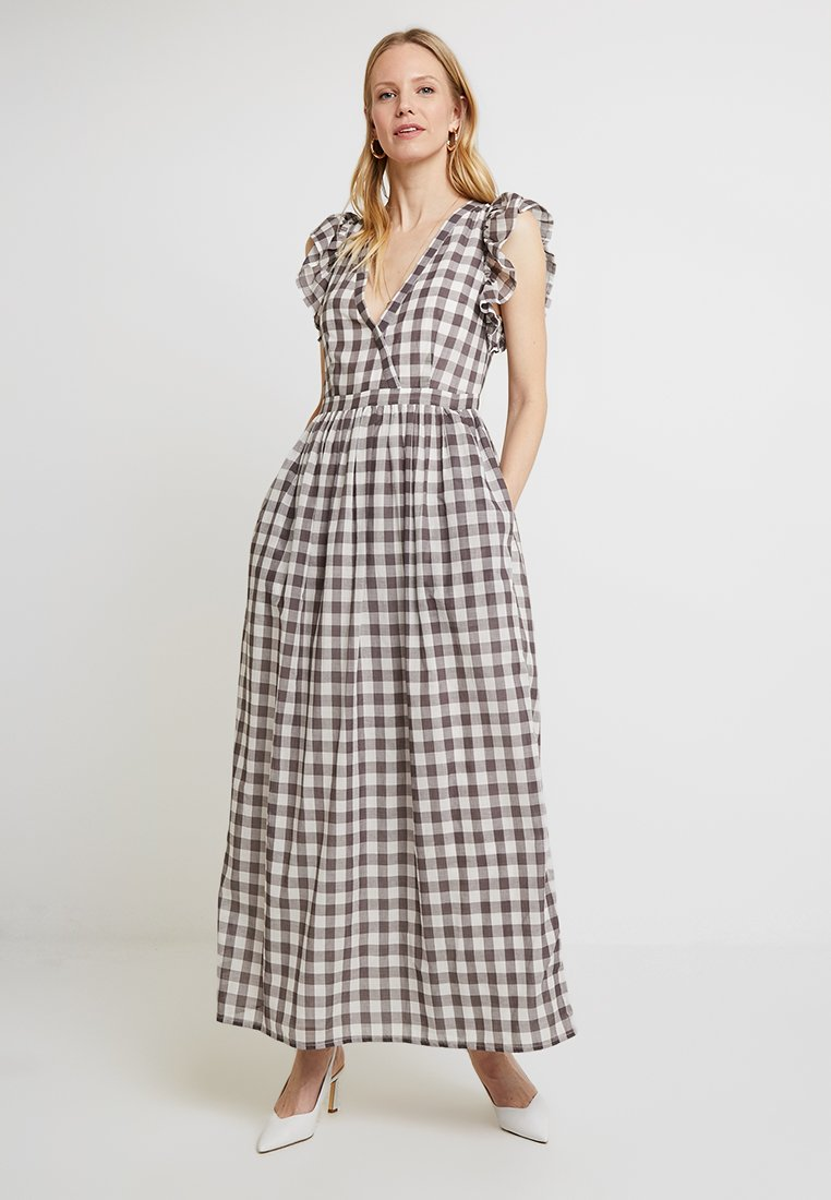 Great Plains London - GINGHAM DRESS - Vestido largo - milk/dark grey