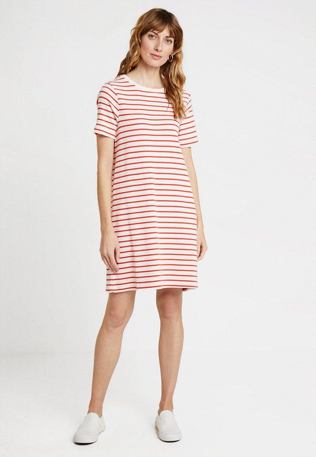 MONROE STRIPE DRESS - Jersey dress - milk/ fiery red