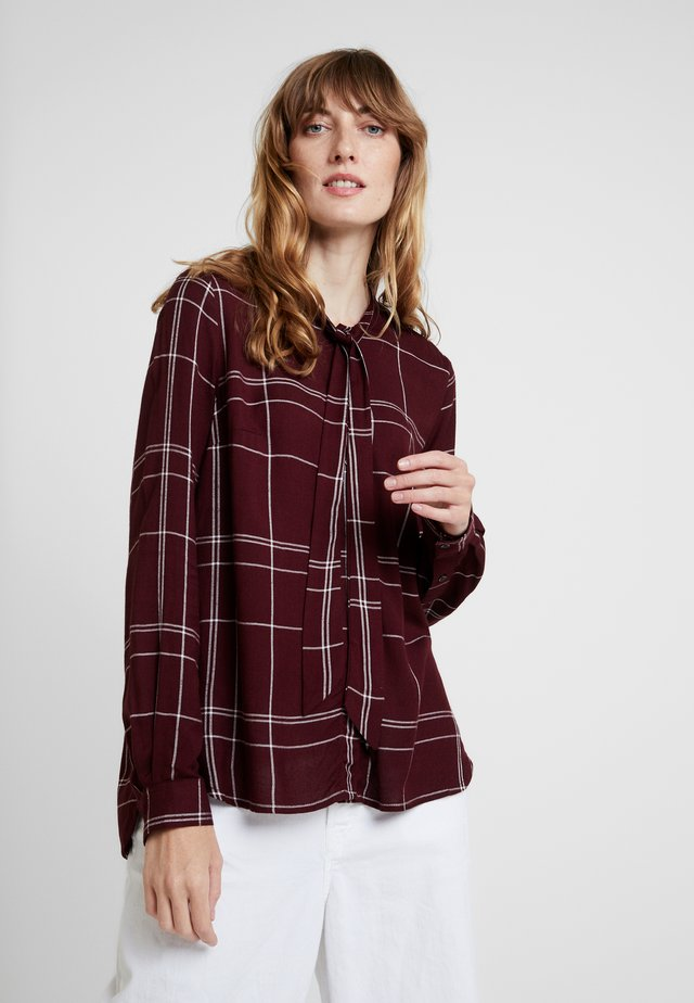 AGNES CHECK - Button-down blouse - cabernet combo