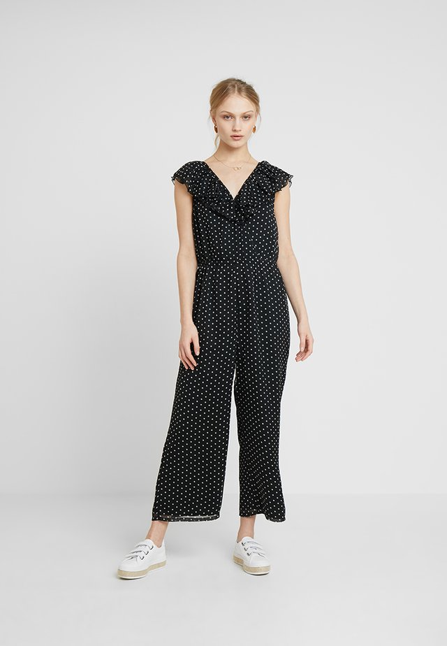 DANA WIDE LEG - Jumpsuit - black/optic white