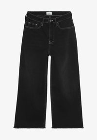 Grunt - ELLIE WIDE LEG CROPED - Flared Jeans - clam black