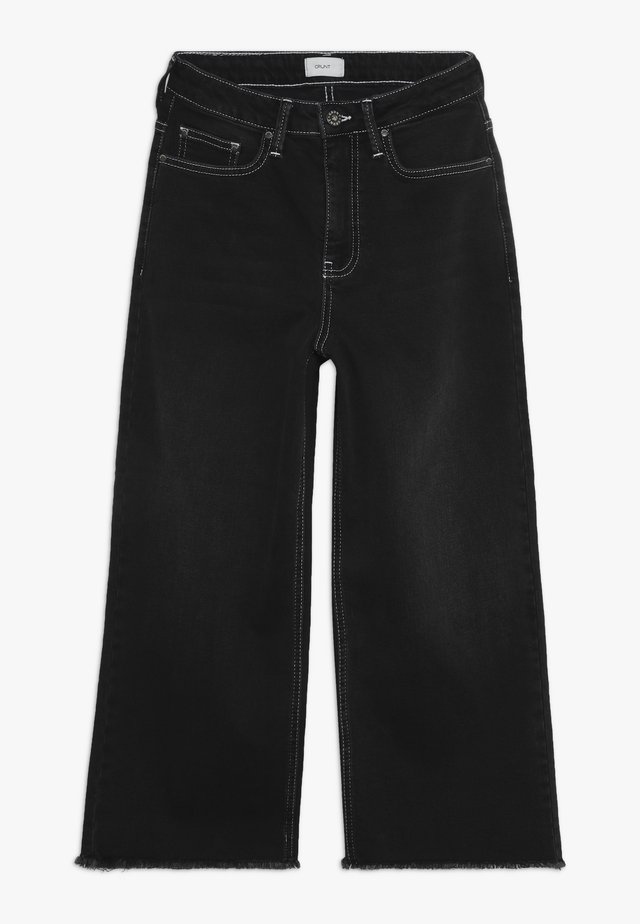 ELLIE WIDE LEG CROPED - Flared jeans - clam black