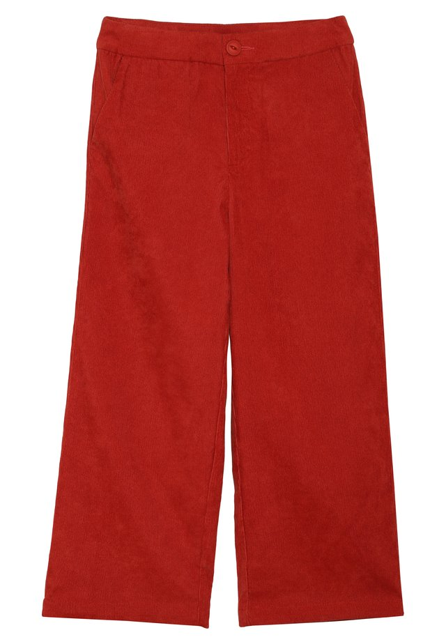 WIDE LEG CROP CORDUROY - Trousers - rusty