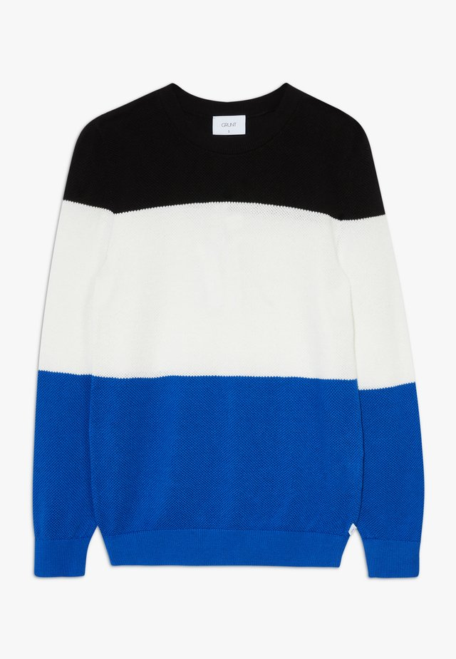 LUDVIG  - Strickpullover - jet black/white/web blue