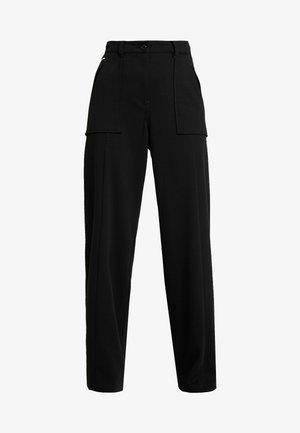 ARMY HIGH WIDE LEG WMN - Spodnie materiałowe - dark black