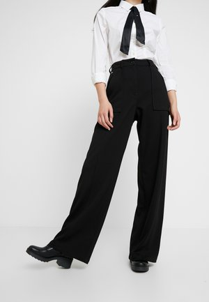 ARMY HIGH WIDE LEG WMN - Kalhoty - dark black