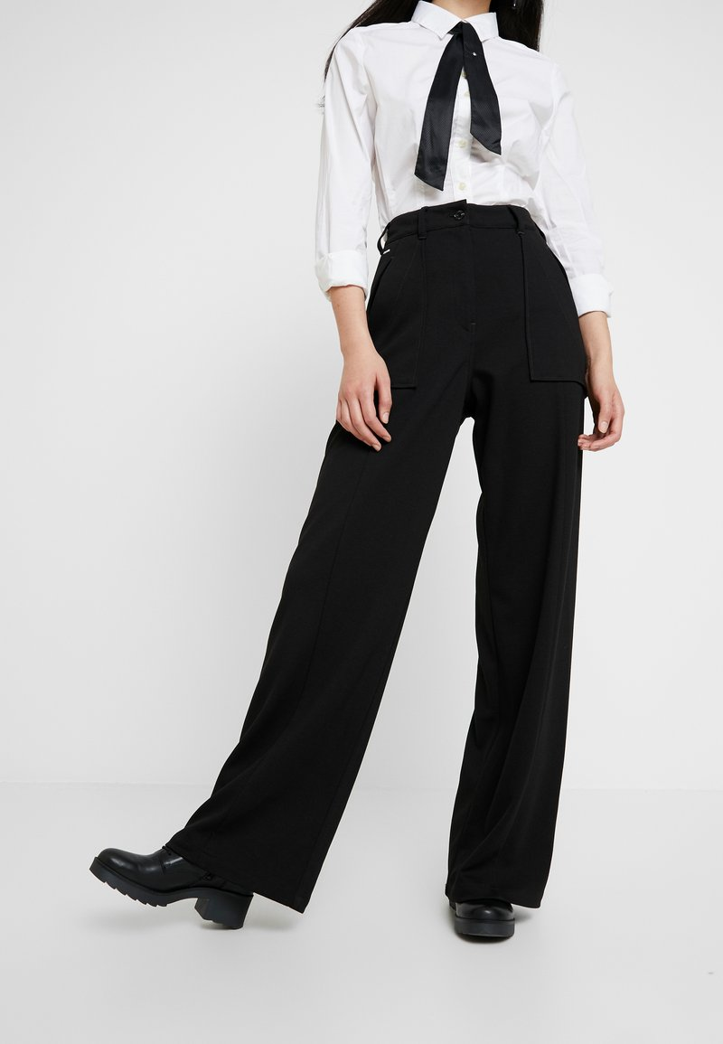 G-Star - ARMY HIGH WIDE LEG WMN - Spodnie materiałowe - dark black
