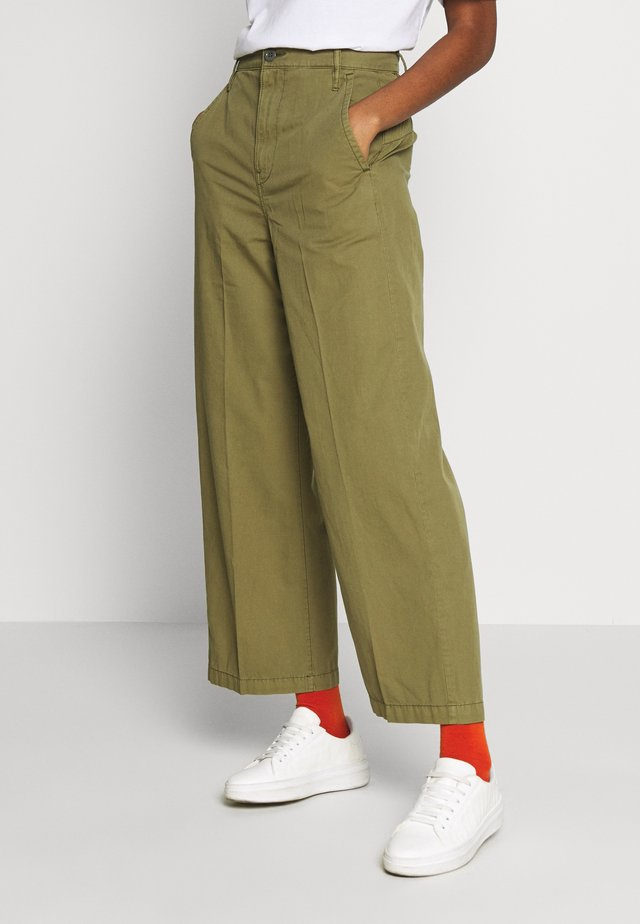 VITRIF HIGH WIDE LEG - Broek - smoke olive