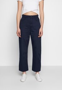 G-Star - TEDIE ULTRA HIGH STRAIGHT RIPPED ANKLE - Trousers - sartho blue - 0