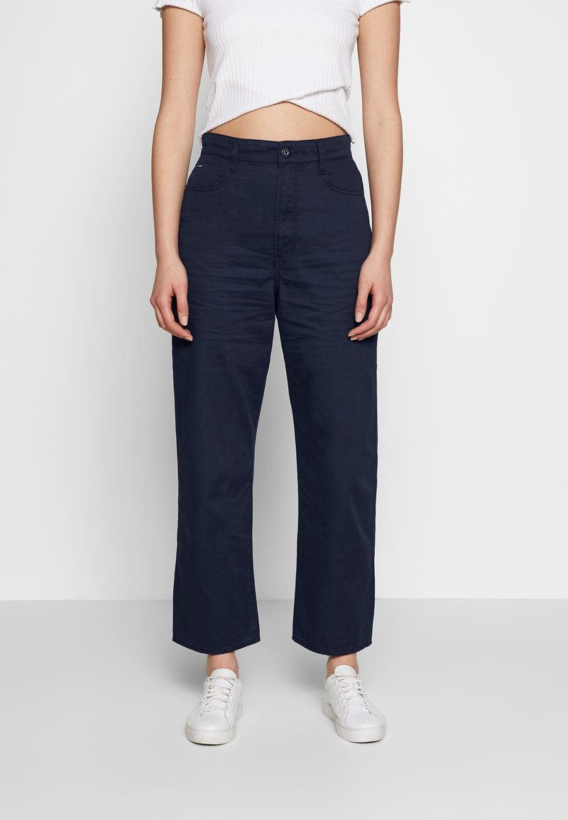 G-Star - TEDIE ULTRA HIGH STRAIGHT RIPPED ANKLE - Trousers - sartho blue