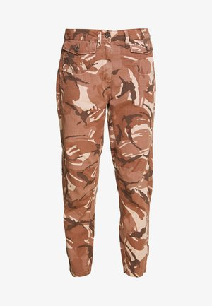 ARMY RADAR MID BOYFRIEND ANKLE - Trousers - soft taupe/chocolate berry ao