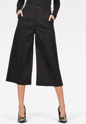 PINTUCK CULOTTE - Trousers - black