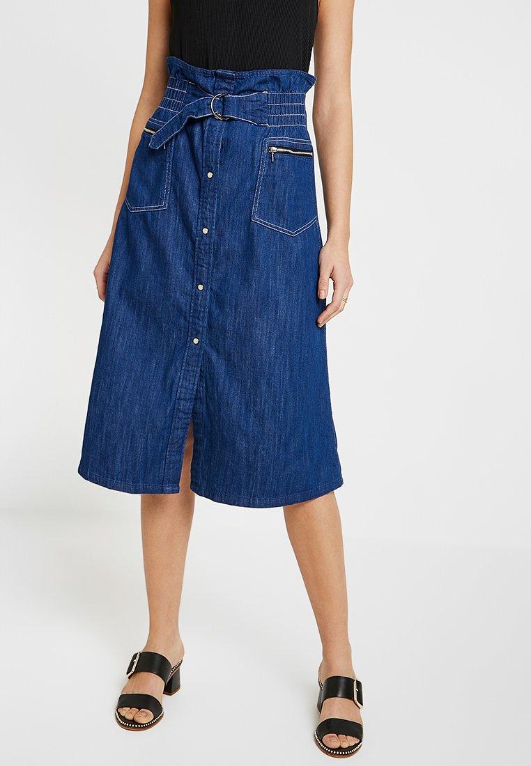 G-Star - TACOMA ZIP PAPERBAG SKIRT - A-line skirt - dark blue