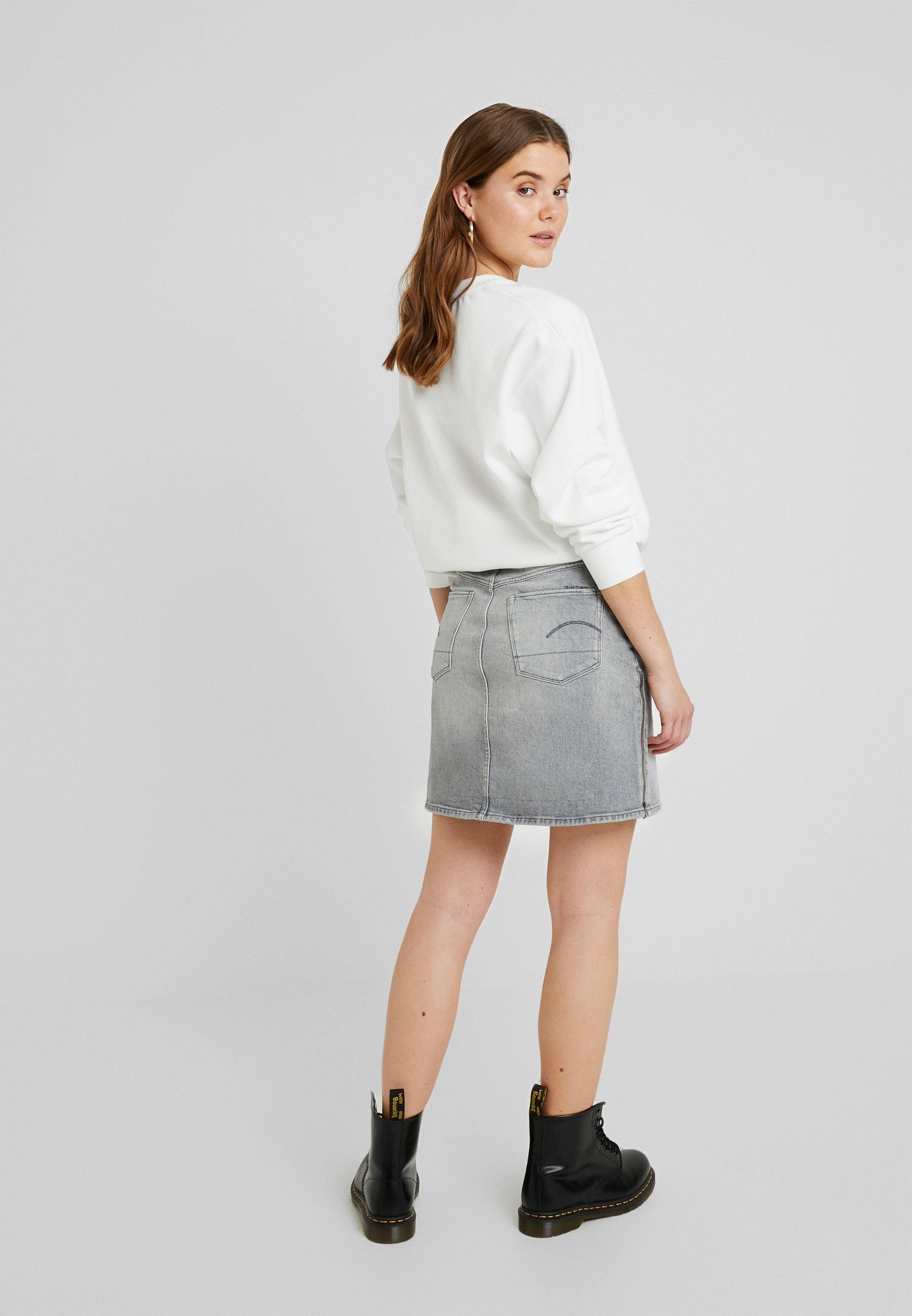 G Grey Denim star SkirtJupe Trapèze 3301 Zip Lavas Stretch CrexBoWEQd