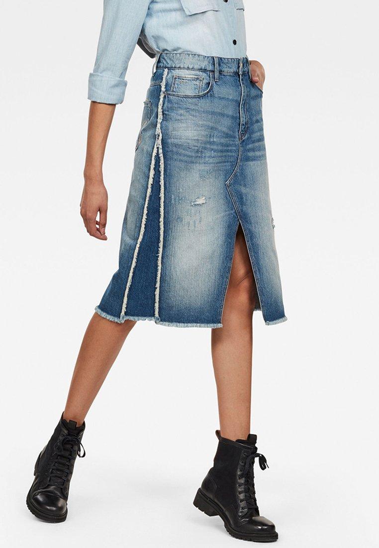 G-Star - 3301 Fringe Midi - Gonna di jeans - blue denim