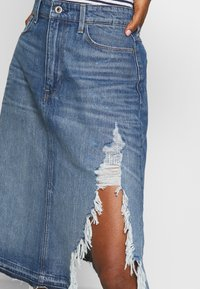 G-Star - 3301 A-LINE MIDI RIPPED  - A-linjainen hame - faded ripped shore - 3
