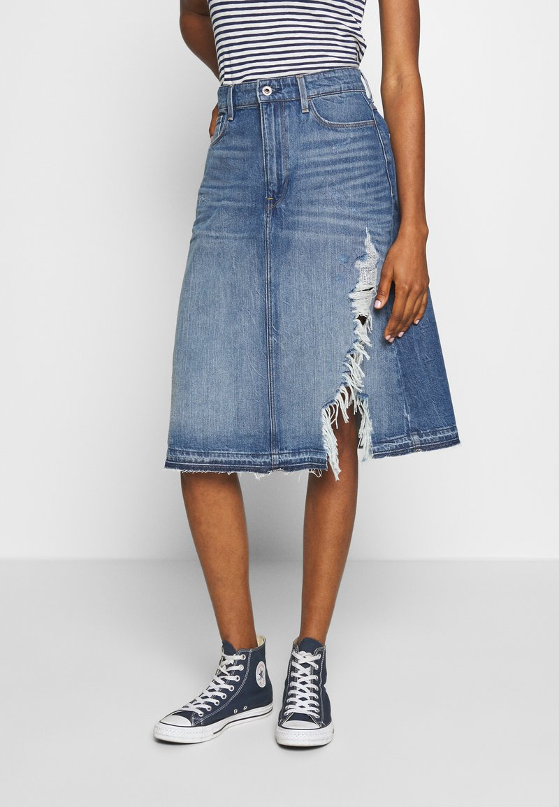 G-Star - 3301 A-LINE MIDI RIPPED  - A-linjainen hame - faded ripped shore