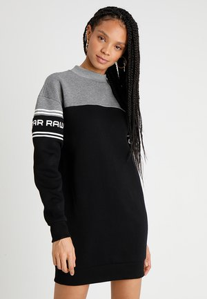 BILBI BLOCK FUNNEL SW DRESS WMN L\S - Hverdagskjoler - carbid heather/dark black/white