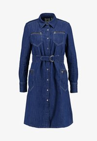 G-Star - TACOMA ZIP STRAIGHT FLARE DRESS - Denim dress - rinsed denim - 4