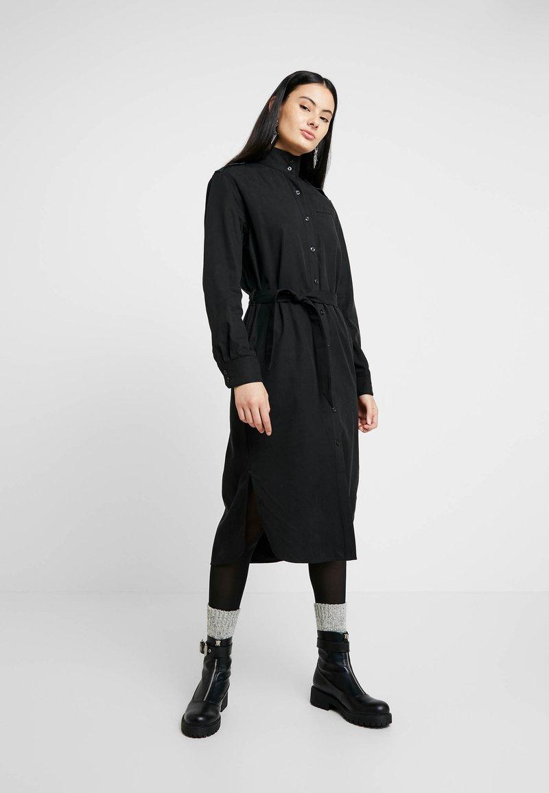 G-Star - LANC MIDI SHIRT DRESS L\S - Košilové šaty - dk black