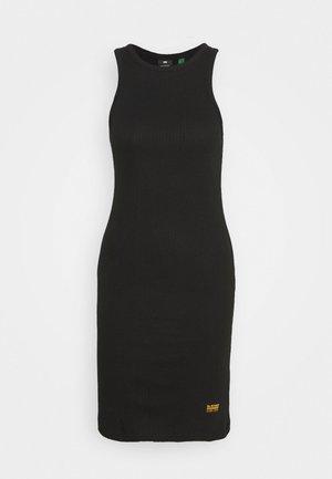 RIB SLIM - Shift dress - black