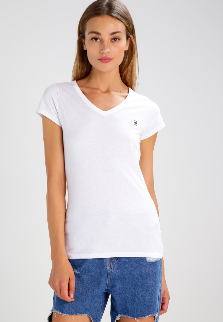 G-Star - EYBEN SLIM V T  S/S - Camiseta básica - white